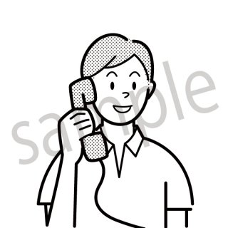 電話をする男性 イラスト(スマホ、営業、ネクタイ、スーツ、ビジネス、サラリーマン)