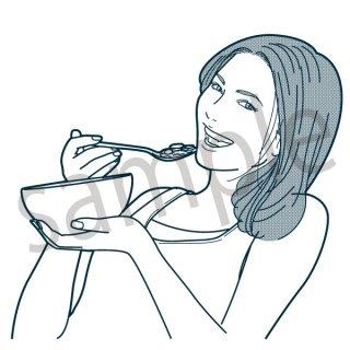 シリアルを食べる人 女性(食事、健康、ダイエット、ベジタブル、朝食、)