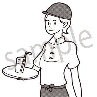 喫茶店 店員 イラスト(カフェ、喫茶店、レストラン、店員)