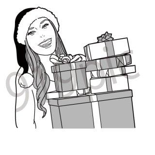 クリスマスプレゼントを持つ女性 イラスト(クリスマス、プレゼント)