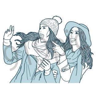 おどろく女性2人 イラスト(女性、ビックリ 、ヨーロッパ系、びっくり、驚く、驚き)