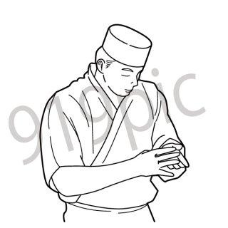 寿司職人 イラスト(飲食、すし、和食、板前)