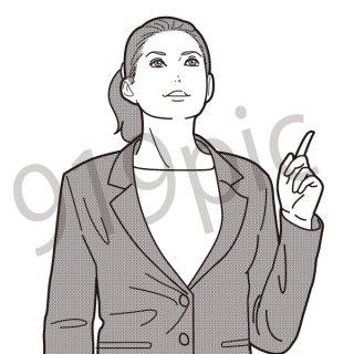 上を指を差す女性 イラスト(会社員、営業、ビジネスマン、ジェスチャー)