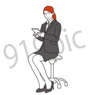 書類を持ち、椅子に座るビジネスウーマン イラスト(女性、会社員、ビジネスマン、ジェスチャー)