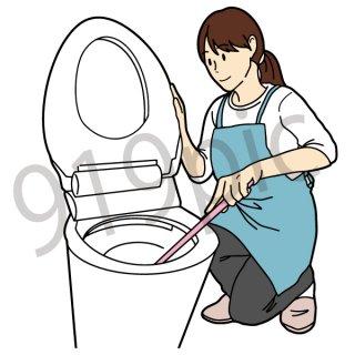 トイレ掃除をする女性 イラスト(清掃、大掃除、家事、主婦)