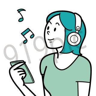ヘッドフォンで音楽を聴く女性 イラスト(ヘッドホン、スマホ、ウォークマン)