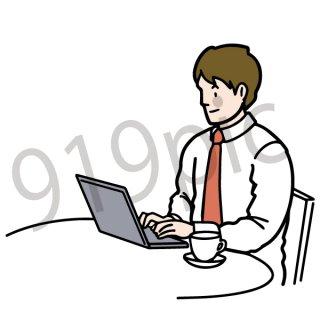 パソコンで仕事をするビジネスマン(仕事,サラリーマン,PC,ビジネス)