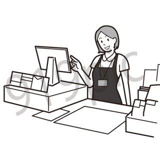 ファストフード店のレジ イラスト(ビジネス、仕事、店員、スタッフ、ファーストフード、会計)