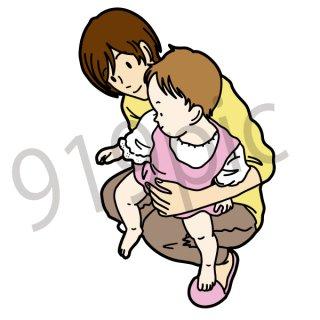 赤ちゃんを抱っこするお母さん イラスト(家族、子供、母親、親子)