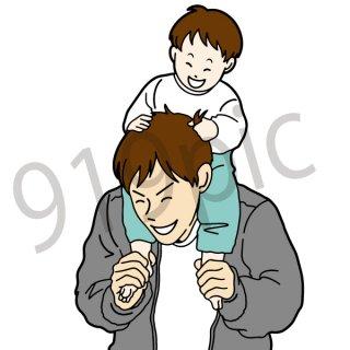 子供を肩車するお父さん イラスト(家族、子供、父親、親子)