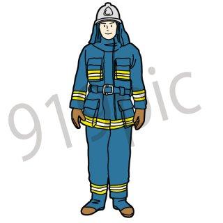 消防士 イラスト(消防、防災、お仕事)