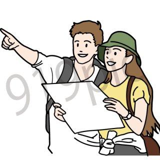 地図を見るカップル イラスト(女性、男性、夫婦、登山、旅、旅行、ハイキング、冒険、案内、迷子、迷う、教える)