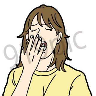 あくびをする女性 イラスト(アクビ、寝起き、眠い、眠たい、朝)