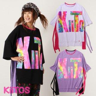 キートス ペイント風プリントリボン付きTシャツ