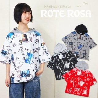 ローテローザ フォトプリント 総柄 フード付きTシャツ 半袖パーカー