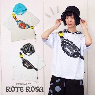 ローテローザ ボディバッグプリントフード付きTシャツ 半袖パーカー
