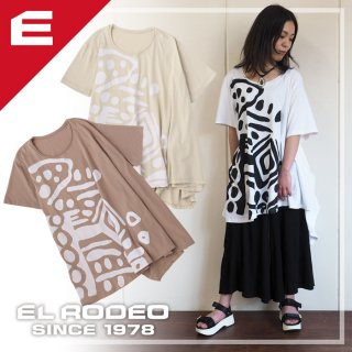 アフリカ柄 変形Aライン チュニック ビッグTシャツ