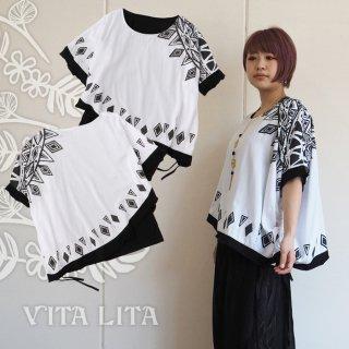 VITA LITA(ヴィータリータ) ポンチョ付きTシャツ