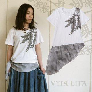 VITA LITA(ヴィータリータ) 裾シフォン羽Tシャツ