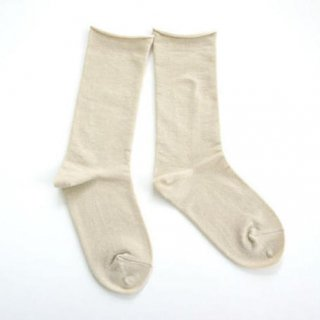 ペルーコットンのゴムなし靴下(ユニセックス) ベージュ