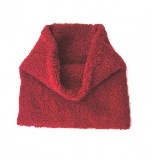 アルパカブークレの手編みネックウォーマー レッド