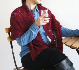 ストール バーガンディ シルク混ベビーアルパカ  ☆大人のおしゃれ手帖様掲載☆