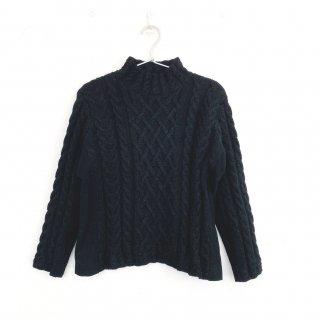 アルパカ手編みケーブルセーター