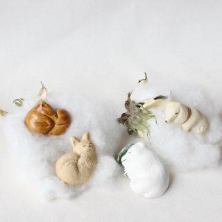 【ギフト対応可】美濃焼陶器箸置き 「動物の赤ちゃんシリーズ4個セット」(イヌ/クマ/ネコ/リス)
