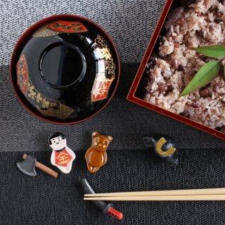 【セット】美濃焼陶器箸置き 「端午の節句  金太郎5点セット」(金太郎/クマ/まさかり/刀/兜)