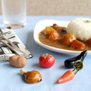 【ギフト対応可】美濃焼陶器 箸置き 「ごろごろ夏野菜カレーセット」(ホールトマト・なす・じゃがいも・にんじん・玉ねぎ)