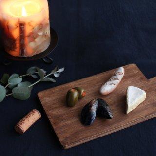 【父の日ギフト対応可】美濃焼陶器 箸置き 「おうちでワインバル5点セット」(バタール・カマンベール・ムール貝・オリーブピクルス・ワインコルク)