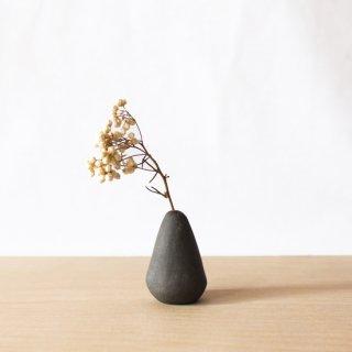 美濃焼 陶器 ドライフラワーベース「しずく・黒」