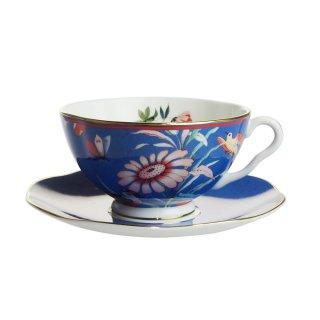 ウェッジウッド (WEDGWOOD) ペオニア ブラッシュ ティーカップ&ソーサー ブルー
