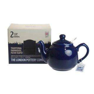 ロンドンポタリー (London Pottery) ファームハウス ティーポット コバルトブルー 2cup