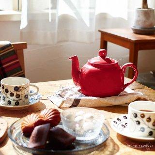 ロンドンポタリー (London Pottery) ファームハウス ティーポット レッド 2cup