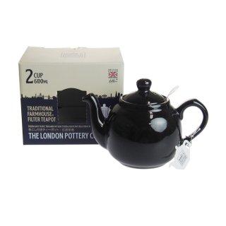 ロンドンポタリー (London Pottery) ファームハウス ティーポット グロスブラック 2cup