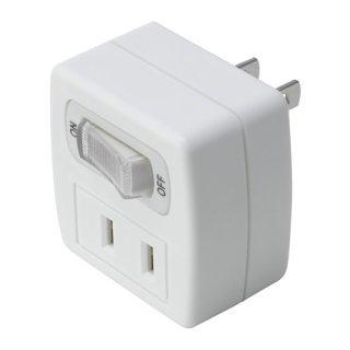 IKEA イケア アダプタープラグ2個口 スイッチ付き アース無 ホワイト c40316111 KOPPLA