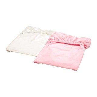 IKEA イケア ボックスシーツ ベビーベッド用 ホワイト ピンク60x120cm 40320189 LEN