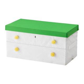 IKEA イケア ふた付きボックス グリーン ホワイト b30328845 FLYTTBAR