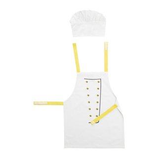 IKEA イケア TOPPKLOCKA 子供用エプロン コック帽付き ホワイト イエロー b80300815