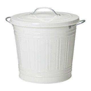 IKEA イケア KNODD ふた付きゴミ箱 16L ホワイト a50171773
