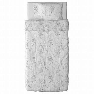 IKEA イケア 掛け布団カバー&枕カバー ホワイト グレー シングル 20172825 ALVINE KVIST