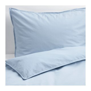 IKEA イケア 掛け布団カバー&枕カバー2枚 ライトブルー ダブルサイズ 80318622 ANGSLILJA