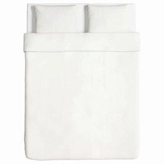IKEA イケア 掛け布団カバー&枕カバー2枚 ホワイト ダブルサイズ 70318547 ANGSLILJA