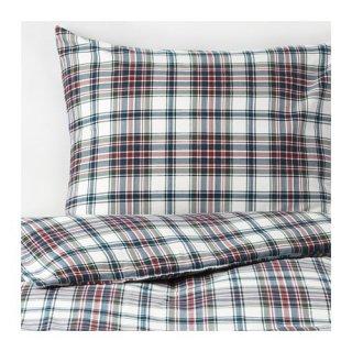 IKEA イケア 掛け布団カバー&枕カバー チェック シングル z50412584 MOSSRUTA