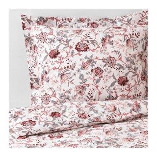 IKEA イケア 掛け布団カバー&枕カバー2枚 ホワイトピンク ダブルサイズ z50390308 SPRANGORT