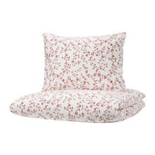IKEA イケア 掛け布団カバー&枕カバー ホワイト ピンク シングル z20390296 HASSLEKLOCKA