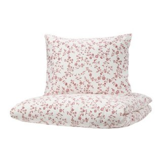 IKEA イケア 掛け布団カバー&枕カバー2枚ホワイト ピンク ダブルサイズ z20390282 HASSLEKLOCKA