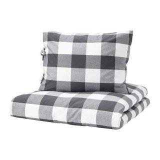IKEA イケア 掛け布団カバー&枕カバー2枚 ダークグレー ホワイト ダブルサイズ z60380016 EMMIE RUTA
