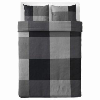 IKEA イケア 掛け布団カバー&枕カバー2枚 ブラック ダブルサイズ z10375531 BRUNKRISSLA